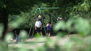 Stock Video Footage of Playground through the trees (1 of 1)