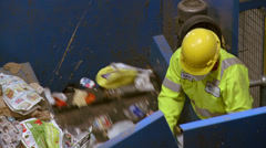 Trash workers on a conveyor (7 of 10) Stock Footage