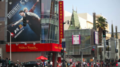Chinese Theater and Madame Tussauds Museum on Hollywood Boulevard - stock footage
