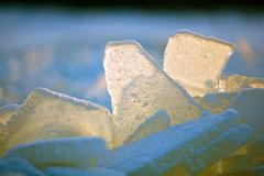 Forms of sea ice near the coast - stock photo