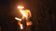 Talented Single Hoop Fire Dancer Stock Footage
