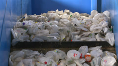 Close up of recyclables on a cleated conveyor (3 of 8) Stock Footage