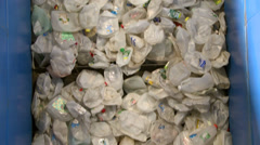 Close up of recyclables on a cleated conveyor (8 of 8) Stock Footage