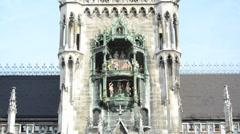 Glockenspiel on the Munich city hall Stock Footage