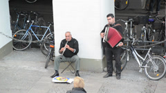 Performance of street musicians Stock Footage