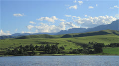 Bell Park Dam and Drakensberg Mountains WS Stock Footage