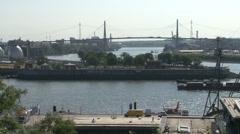 Panoramic View of Hamburg with Koehlbrand bridge #3 Stock Footage