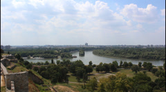 Belgrade, river confluence Stock Footage