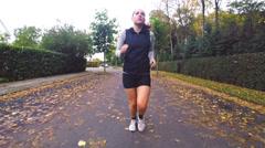 Autumn Fitness Running Stock Footage