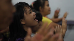 Jungle Kids Worshipping, Indonesia Stock Footage