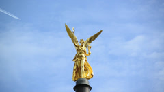 """The angel of peace """"Friedensengel """" in Munich in Bavaria  with the jet plane Stock Footage"""