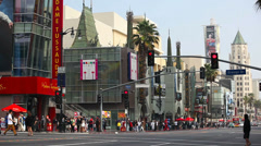 Chinese Theater and Madame Tussauds Museum on Hollywood Boulevard Stock Footage