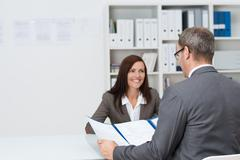businessman conducting an employment interview - stock photo