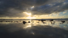 Kelp Beach Sunset Wave towards Cam Stock Footage