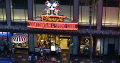Ultra HD 4K UHD Disney Store Shopping Street Walk Fame Hollywood Boulevard Night Stock Footage