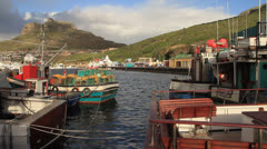 Lions Head and Fishing Boats, Hout Bay Harbour Stock Footage