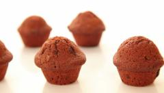 Chocolate cupcake, muffins on white background Stock Footage