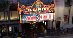 Ultra HD 4K El Capitan Disney Theatre Walk of Fame Hollywood Boulevard People Stock Footage
