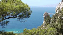Rhodes, Greece. Zoom out from the emerald sea to the ruins of Monolithos Castle. Stock Footage