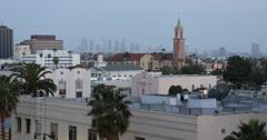 Ultra HD 4K Los Angeles Aerial Cityscape Skyline Hollywood Boulevard Church Stock Footage