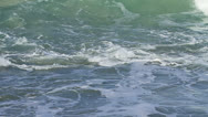 Stock Video Footage of Slo-mo wave forming, curling and breaking in foamy ocean with rocks visible