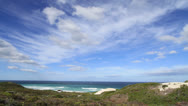Stock Video Footage of Spectacular seascape with wide vista of costals scrub, ocean and clouds
