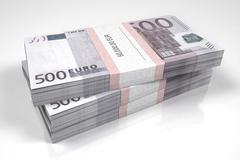 Packets of 500 Euro bills - stock illustration