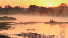 Sunrise with mist at Transport Dam KNP 01 Stock Footage
