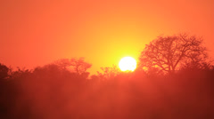 Sunrise with mist at Transport Dam KNP 03 Stock Footage