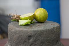 mortar and lemon - stock photo