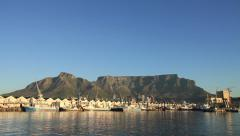 Table Mountain from Cape Town Docks Zoom Stock Footage