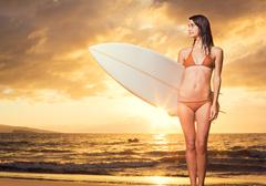 Beautiful sexy young surfer girl in bikini on the beach at sunset Stock Photos