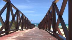 Cuba Resort Beach Boardwalk Stock Footage