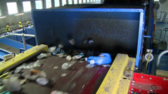 Slo-mo of blue waste facility conveyor (7 of 10) Stock Footage
