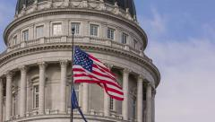 Capitol Building American Flag changing directions Stock Footage
