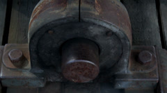 371 close image of the steel bolt in the beam rusty big metal stand Stock Footage