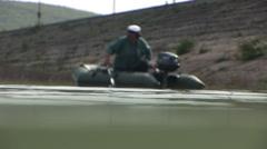 Boatman rowing in lake Stock Footage