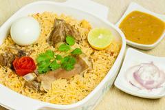 Mutton Biryani with Egg - stock photo