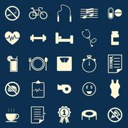 wellness color icons on blue background - stock illustration