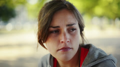 Depressed young woman in trouble is sad Stock Footage