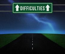 difficulties sign on the road - stock illustration