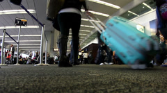 Time lapse of busy airport terminal Stock Footage