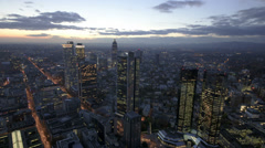 Time lapse - Aerial view of Frankfurt at night Stock Footage