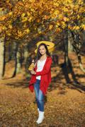 Beautiful brunette guitar player girl in the forest Stock Photos