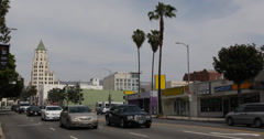 Ultra HD 4K Highland Avenue Rush Hour Traffic Commuters Commuting Los Angeles Stock Footage