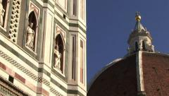Cathedral of Florence, Cupola Brunelleschi, Campanile di Giotto_Pan Stock Footage