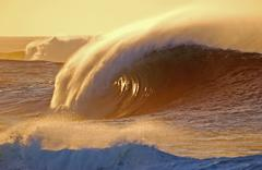 Wave in sunset Stock Photos