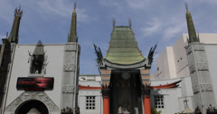 Ultra HD 4K Famous TCL Chinese Theatre Architecture Hollywood Iconic Building LA Stock Footage
