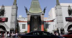 Ultra HD 4K TCL Chinese Theatre Hollywood Boulevard Car Traffic Rush Hour Busy - stock footage