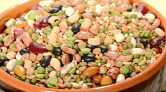 Close-up of dried legumes and cereals Stock Footage